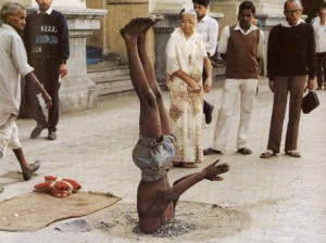 Bold Sirsasana Variation on the Indian Street